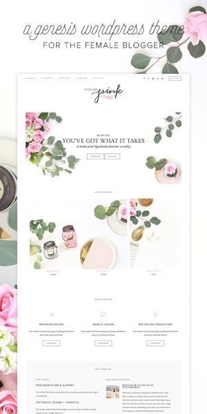 Stunning Feminine WordPress themes Tickled Pink Theme