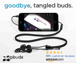 Zipbuds Never Tangle Zipper Earphones