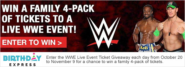 WWE Live Event Giveaway Sponso...