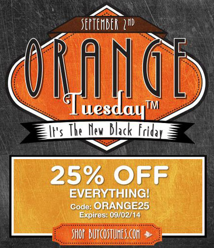 Save 25% on Halloween Costumes - BuyCostumes Orange Tuesday Event Ends 9/2!