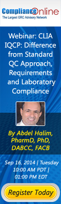 Webinar:  CLIA IQCP: Difference from Standard QC Approach, Requirements and Laboratory Compliance