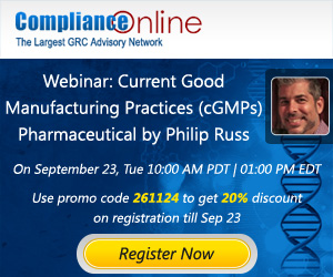Webinar : Current Good Manufacturing Practices (cGMPs) by Philip Russ