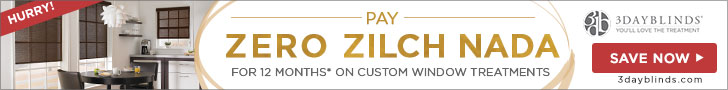 Pay Zero for 12 Months Only At 3DayBlinds.com Ends January 31