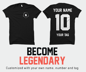 Become Legendary, customized t-shirt with your own name, number and tag