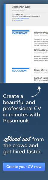 Create a beautiful and professional CV with Resumonk in minutes