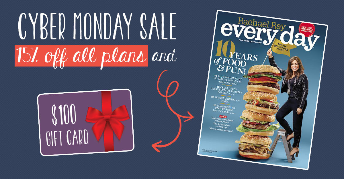 Try LoveWithFood at 15% off for Cyber Monday and get a 2 year subscription of Rachael Ray Magazine and $100 worth of gift cards included!