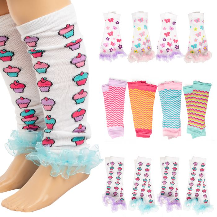 4pk Baby-Little Girl Leg Warmers - Cute Ruffles and Patterns Was: $32.00 Now: $5.00.