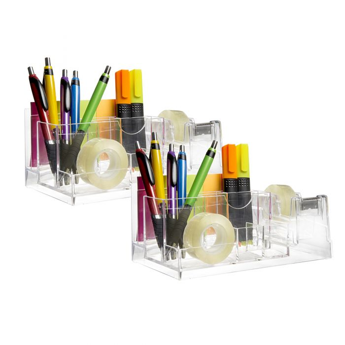 2 Acrylic Desk Organizers with Tape Dispenser Office Supplies Was: $30.00 Now: $10.00.