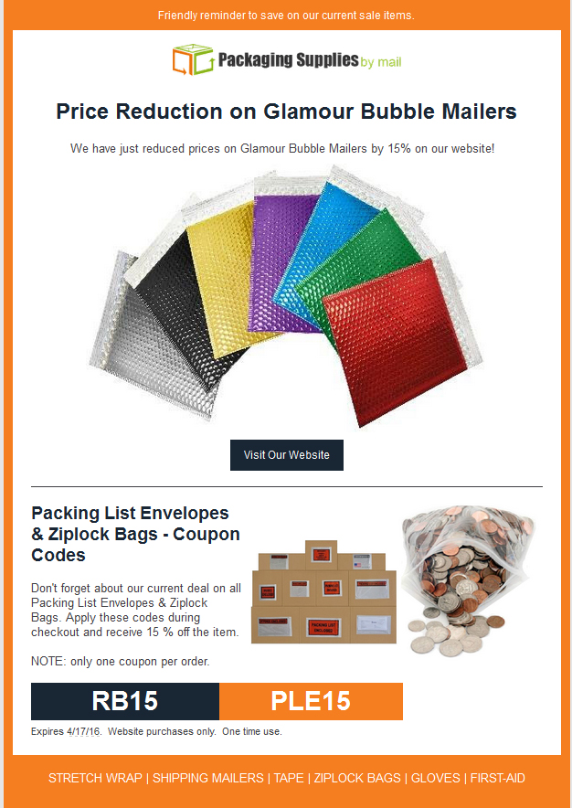 Packing List Envelopes & Ziplock Bags - Coupon Codes