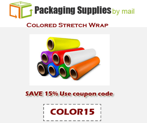 15% OFF on Colored Stretch Wrap at Packaging Supplies By Mail. Use coupon code COLOR15