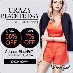 Crazy Black Friday! Free Shipping + UP to 68% OFF + 7% OFF Coupon: BlackFri7. Shop Vintage at rosegal.com! (Ends: Dec 31,2014)