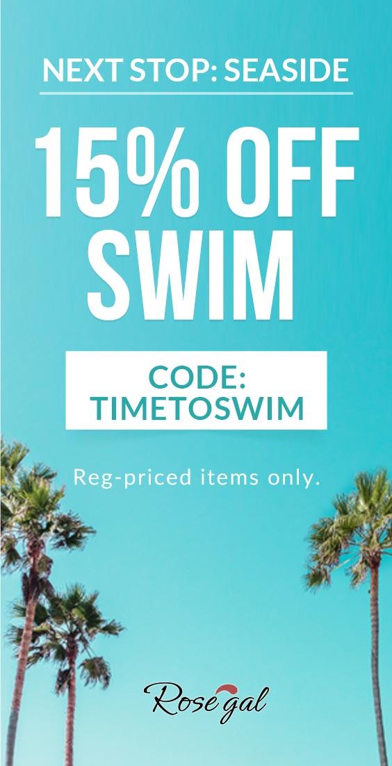 Swimwear: 15% OFF + Free Shipping