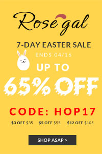 "Rosegal Easter Flash Sale: UP to 65% OFF, save more with COUPON ""HOP17""and FREE SHIPPING"