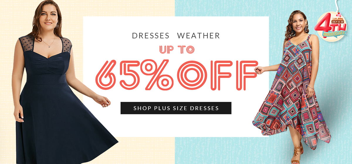 Rosegal 4th Anniversary -- Up to 65% OFF to Shop Plus Size Dresses