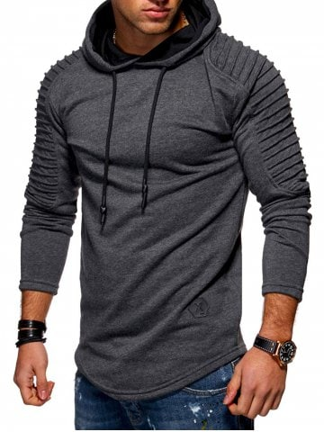 44% off Solid Pleated Sleeve Hem Curved Long Fleece Hoodie