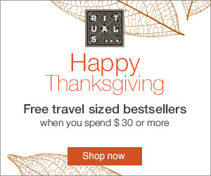 With any $30 purchase at RITUALS... recieve one of their best selling travel-size cosmetics for free.