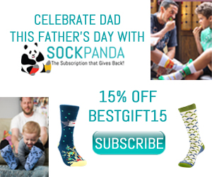 The Best Dad deserves the Best Gift. Gift him a subscription of fun, colorful socks from Sock Panda delivered every month! He'll thank you for the Best. Gift. Ever! This Father's Day, receive 15% off a new subscription