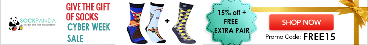 Save 15% on monthly sock subscription AND get FREE extra pair of socks - SockPanda.com. Use FREE15 at check out.