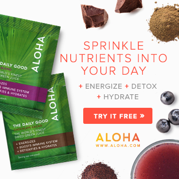 Visit Aloha for all natural, nutrient-packed alternatives to juicing include The Foundation, a 5-pill supplement pack, and The Daily Good, a green whole food powder.