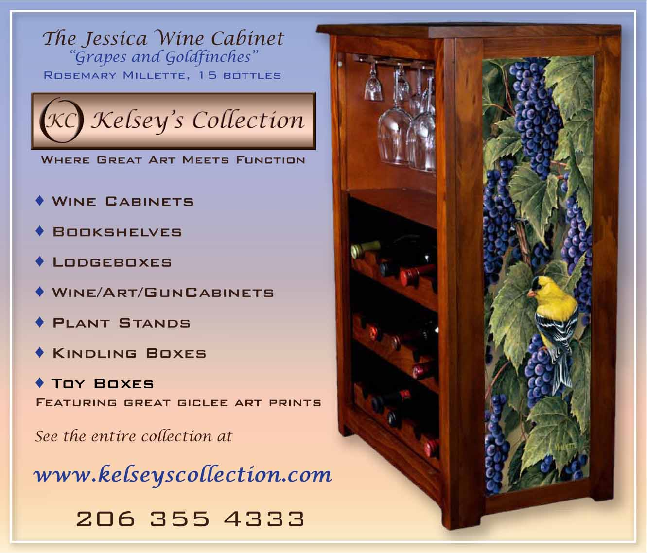 Wine cabinet 15 bottle with stemware rack