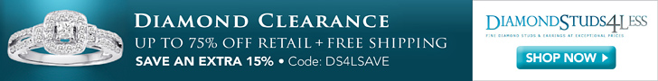 Extra 15% Off Clearance at DiamondStuds4Less.com, code DS4LSAVE