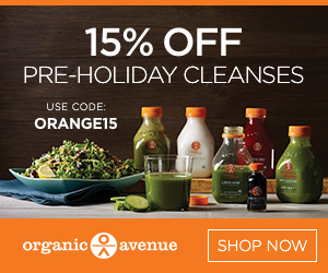 From 11/28-12/1, Organic Avenue is offering 15% off pre-holiday cleanses with code ORANGE15.