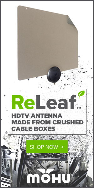 Introducing ReLeaf. HDTV Antenna Made From Crushed Cable Boxes and Recycled Materials