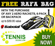 Free Rafa Bag with the purchase of any 2 Aero Racquets. 6-Pack or Backpack