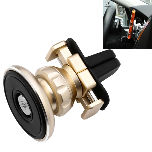 Baseus Gold Aromatizing Magnetic Car Air Vent Mount 360 Degrees Rotation Aluminum + Silicone Phones and Tablets Holder Stand(Gold)