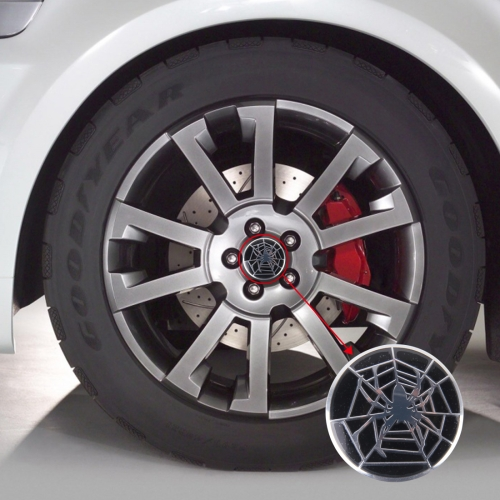 4 PCS Spider Metal Car Sticker Wheel Hub Caps Centre Cover Decoration