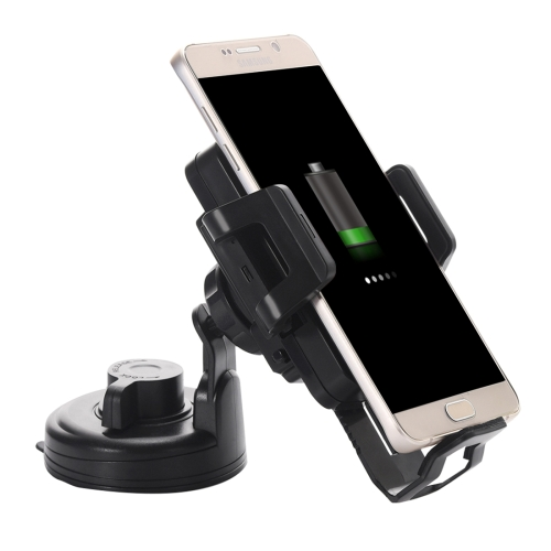 Itian C1+ 360 Degree Rotatable Universal Car Cup & Air Vent Mount Holder Stand with Qi Standard Wireless Charger for Samsung Galaxy S6 / S6 edge + / Note 5, iPhone, HTC, Sony(Black)