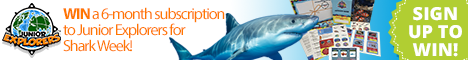 Win a 6-month subscription to Junior Explorers for Shark Week! Ends 7/12/15