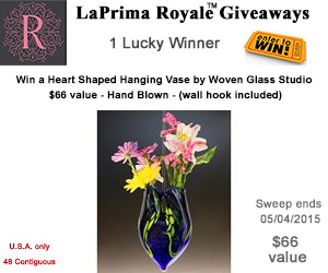 Win a Heart Shaped Hanging Vase by Woven Glass Studio $66 value - Hand Blown - (wall hook included)