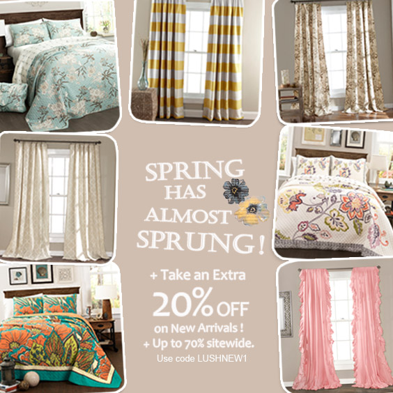 Extra 20% on  New Arrivals on beddig, window panels with code LUSHNEW1