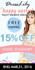 "Happy Easter! Take 15% off with coupon ""EGGHUNT"" for various hot sale pieces, latest dress, fashion tops, swimwears, etc. (Ends: March.31, 2016)"