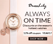 """Welcome to Dresslily to get discounts on the season's hottest watches, you can enjoy free shipping and 12% off with coupon """"YEAR17"""" with many stylish watches. You shouldn't miss it! (2/3/2017)"""