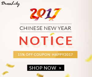 """Now it's time for some fabulous news! Starting today, a truly massive 15% OFF with coupon """"HAPPY2017"""" for new DressLily orders is available for your incredible support over the past year. (2/8/2017)"""