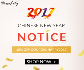"Now it's time for some fabulous news! Starting today, a truly massive 15% OFF with coupon ""HAPPY2017"" for new DressLily orders is available for your incredible support over the past year. (2/8/2017)"