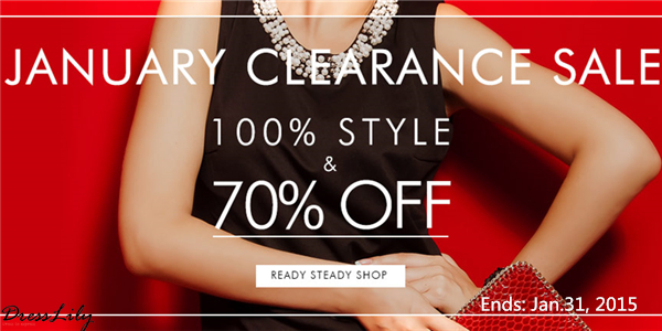January Clearance Sale! Up to 70% OFF + Free Shipping at Dresslily! (Ends: Jan.31, 2015)