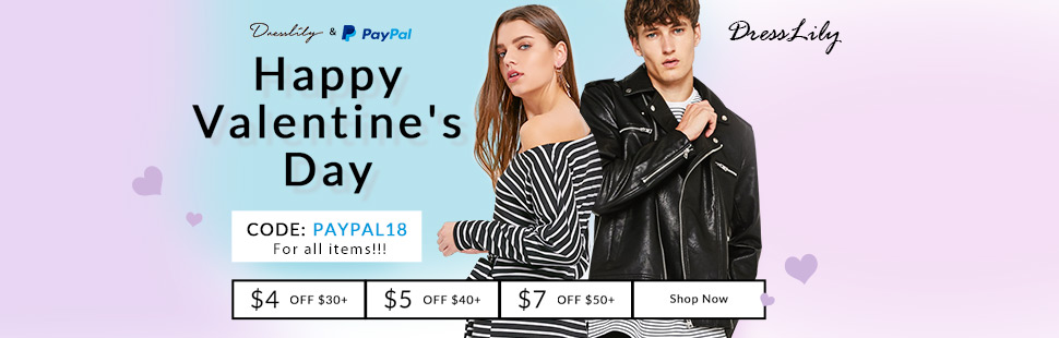 Dresslily & PayPal: Happy Valentine's Day With Code: PAYPAL18 For All Items!