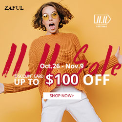 11.11 Sale: Global Shopping Festival! Discount Card: Up to $100 OFF at Zaful.com! Ends: 11/13/2017