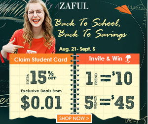 "Back to School Sale! Enjoy $7 OFF $60 with Code ""FNW6""  and Deals From $0.01 at Zaful.com! Ends 9/5/2017."