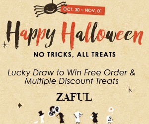 Halloween Sale:  Buy 2 get $8 OFF and Extra 15% OFF for orders $40+ at Zaful.com! Ends: 10/29/2017