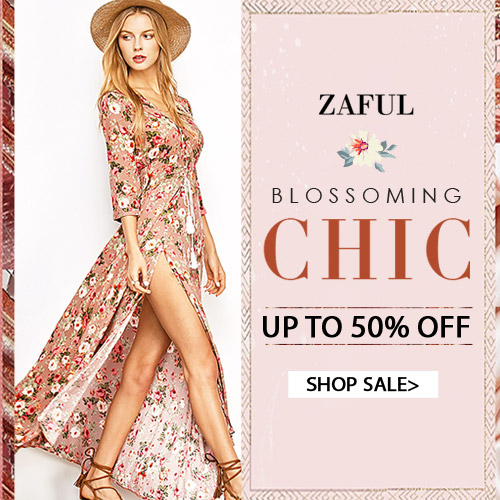 The Blossoming Chic is coming. Welcome to Zaful to get new seasonfloral print, and you can enjoy up to 50% OFF for blossoming rompers, dresses,bikinis and tops. You will regret to miss them.(4/7/2017)