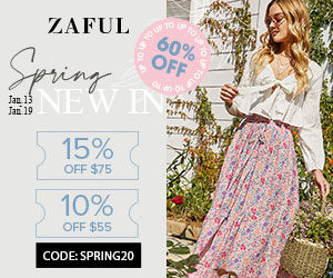 Zaful Spring New In: 15% off $75, 10% off $55