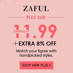 Start From $11.99 and Enjoy Extra 8% OFF for Plus Size Sale at Zaful.com! Ends: Aug.1, 2017
