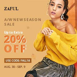 "Enjoy Up to Extra 20% OFF with code ""FALL18"" at ZAFUL.com! Ends: 9/9/2018"