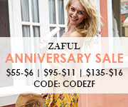 "Hot Sale:  Enjoy $6 off $55, $11 off $95 and $16 off $135 with Code ""CODEZF"" at Zaful.com! Ends: June.25, 2017"