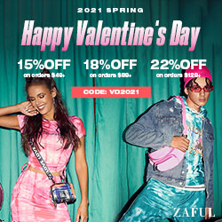 "ZAFUL V-Day Special Offer: $49-15%, $89-18%, $129-22% with code ""VD2021"" (Feb 1st-Feb 22nd)"