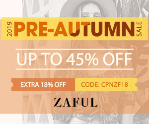 ZAFUL Pre-Autumn Sale 2019: Up to 45% off + Extra 18% off Sitewide Code: CPNZF18 Expire: 9/30